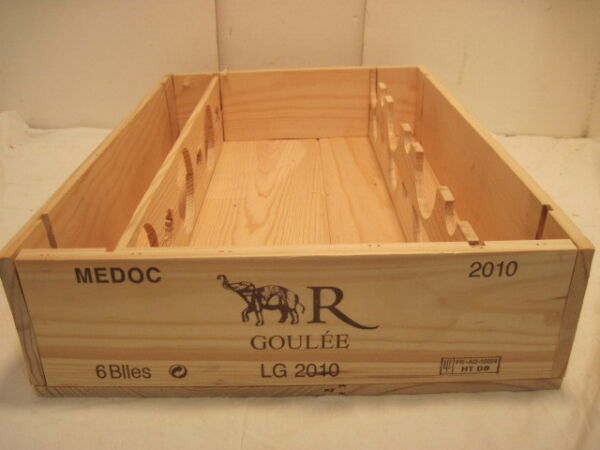 OLD WOOD WOODEN MEDOC R GOULEE WINE CRATE BOX ELEPHANT