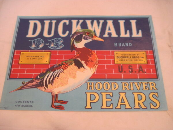OLD PAPER CRATE LABEL DUCK WALL HOOD RIVER PEARS FRUIT PRODUCE ADVERTISING LABEL