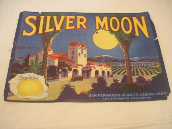 OLD PAPER CRATE LABEL SILVER MOON SUNKIST LEMONS FRUIT PRODUCE ADVERTISING LABEL