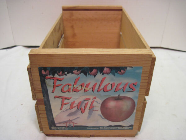 OLD WOOD-WOODEN FABULOUS FUJI APPLE PRODUCE CRATE BOX