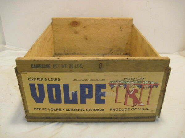 A VINTAGE WOOD-WOODEN VOLPE CARIGNAME GRAPE PRODUCE CRATE BOX ADVERTISING
