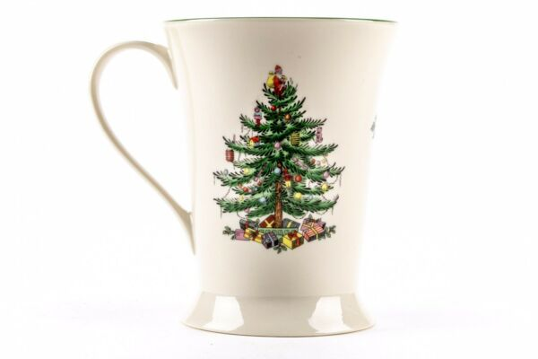 "Spode Christmas Tree Tall Coffee Mugs England by Pimpernel 5"" Tall- Set Of Six"