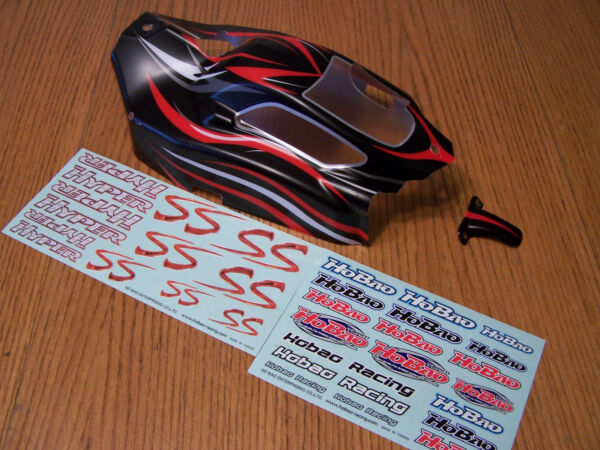 Hobao 18 Hyper SS Nitro Buggy Black Red Silver Body Shell & Decals 90042B