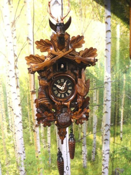cuckoo clock black forest quartz german wood batterie clock handmade new hunter