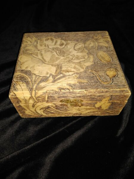 Antique Square Flemish Carved pyrography Wooden Box