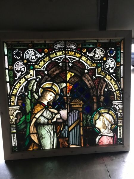 Beautiful antique painted in fired Stainglass angel figural window 45.5 x 43.25