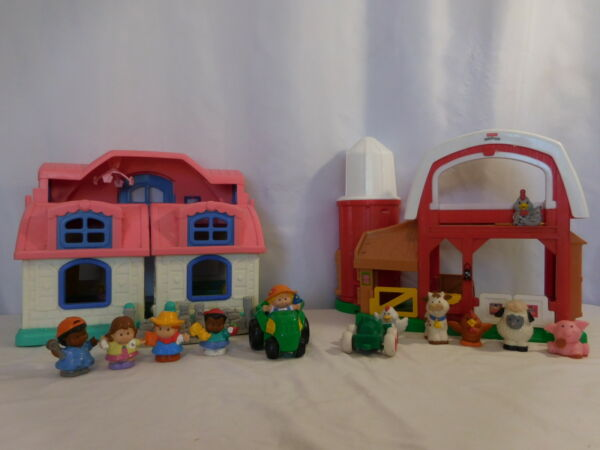Little People Animal Sound Farm Barn Silo Animals + Sweet Sounds House Pink Roof