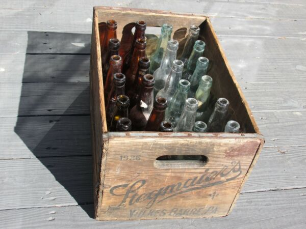 1936 STEGMAIER Wood Crate Wooden Box With 24 Original Embossed Glass Bottles