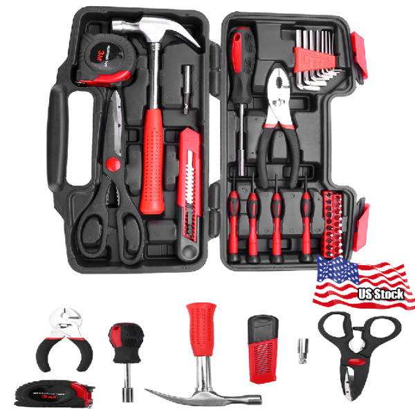 38 Piece DIY Household Home Hand Tool Set Kit with Hard Storage Case