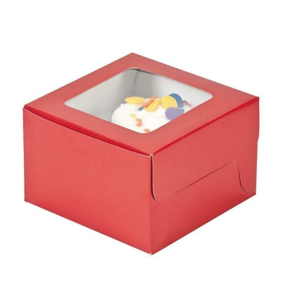Red Cupcake Boxes 12 Pack Cardboard. 1 2quot; x 3quot; x 4 1 2quot;