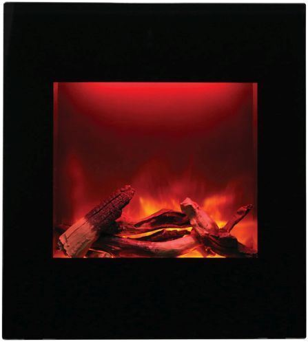 ZECL Electric Fireplace with Black Glass Surround and Log Set - 24