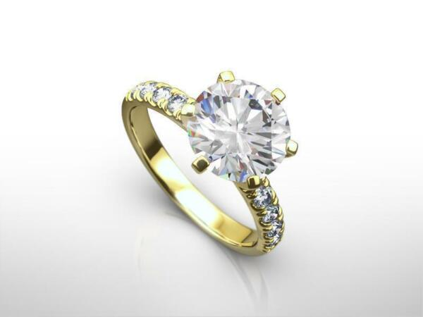 DIAMOND ENGAGEMENT RING 2.25 CT G SI2 ROOUND 14k YELLOW GOLD WEDDING CHRISTMAS