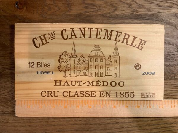 1 Rare Wine Wood Panel Château Cantemerle Vintage 2009 CRATE BOX SIDE