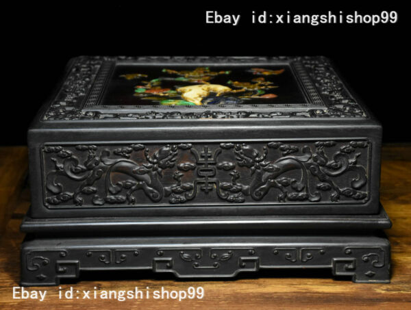 10 Old Chinese Rosewood Wood Inlay Jade Gem Carved Dragon Bird Flower design Box