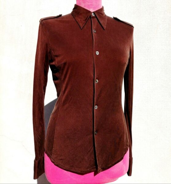 EQUIPMENT Womens WASHABLE SILK SLIM MILITARY BUTTON DOWN Shirt Chocolate Brown L