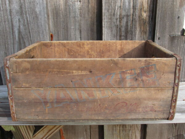 YANKEE BEER CRATE Wood Box Antique Shipping Primitive Advertising Original Old