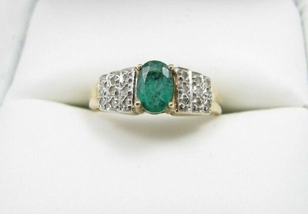 10k Yellow & White Gold Emerald & Diamond Ladies Ring Sz 5