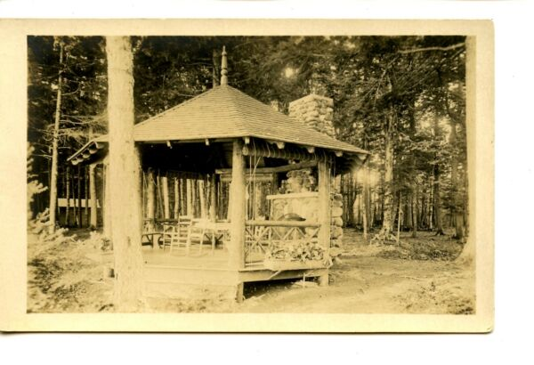 Rustic Gazebo w Chairs-Stone Fireplace-Wooded Area-RPPC-Real Photo Postcard