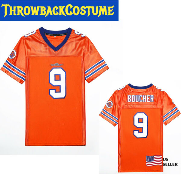 Bobby Boucher #9 The Waterboy Football Jersey Adam Sandler Orange SMLXL3XL