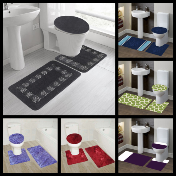 3PC BATHROOM SET BATH RUG CONTOUR MAT TOILET LID COVER COLORS DESIGN 3 STYLES