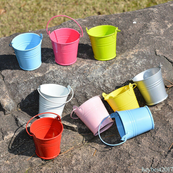 12x Mini Small Metal Pail Bucket Iron Pails For Flowers Home Party Decoration Q8