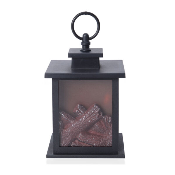 Black Fireplace Lantern with LED Lights Camping Hiking Portable Battery Operated