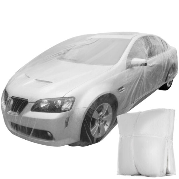 10 PACK Clear Plastic Temporary Universal Disposable Car Cover Rain Dust Garage $55.92