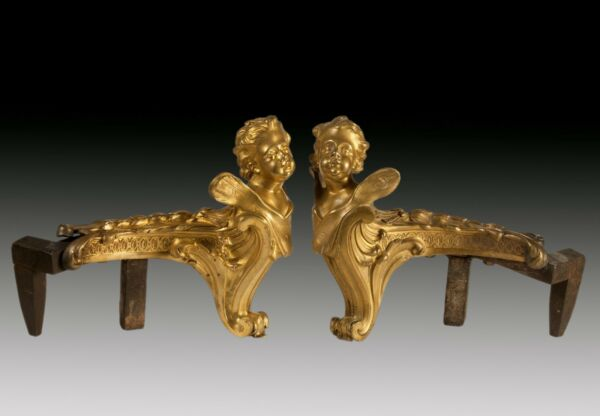 PAIR OF CHIMNEY ANDIRONS GILT BRONZE. FRANCE 19TH CENTURY  PAREJA DE MORILLOS
