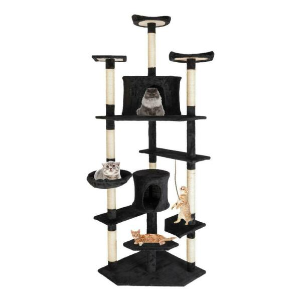 80quot; Cat Tree Pet Play House Cat Tower Condo Furniture Scratch Post Toy Bed Black $74.99