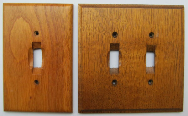 Wood switch plates Lot of 2 double and single slot light switch plates in wood $12.00