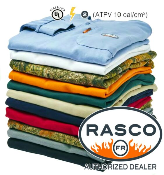 NEW Rasco FR Flame Resistant Long Sleeve Henley T Shirt ALL COLORS Fast Shipping $34.99