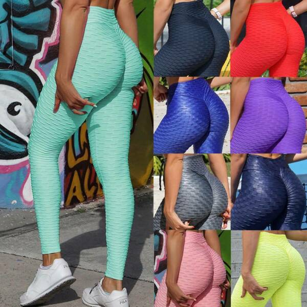 Womens Anti Cellulite Leggings Yoga Pants Ruched Push Up Sports Scrunch Trousers