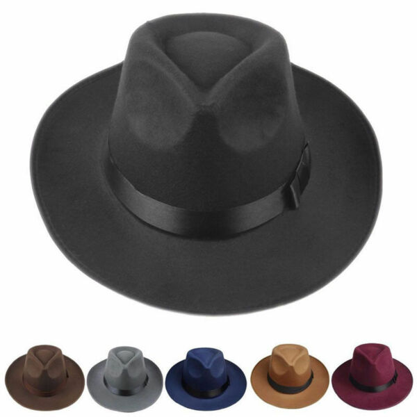 Vintage Men Women Hard Felt Hat Wide Brim Fedora Trilby Panama Hat Gangster Cap