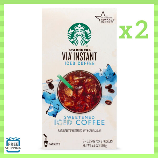 Starbucks Via Sweetened Iced Coffee Instant Pack of 2 Boxes 5.6 Oz Each