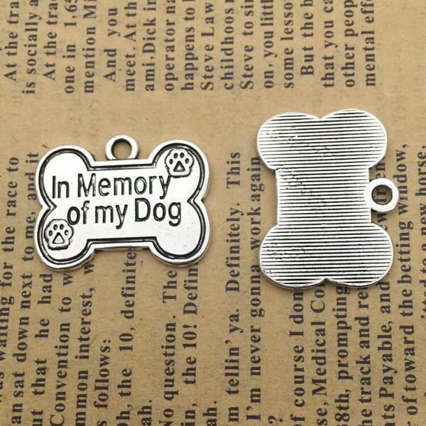 6pcs Charms Dog Bone IN Memory of My Dog Silver Beads Pendant DIY 20*25mm $1.75