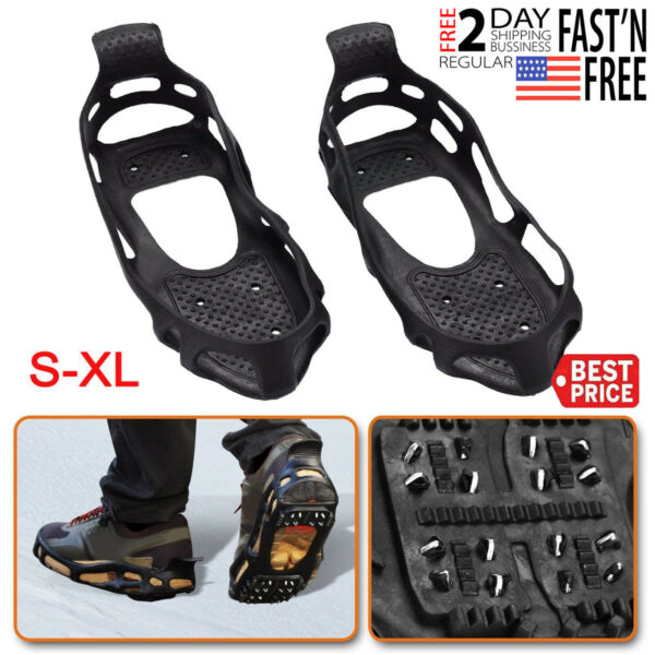 S-XL Ice Snow Cleats Traction Grippers Shoes Boots Rubber Spikes 24 Steel Studs