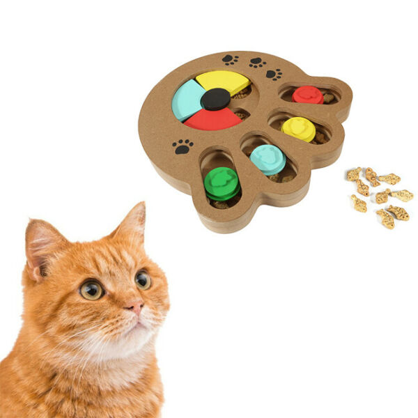 Pet Cat Interactive Wooden Puzzle Toy Play Fun IQ Treated Dispenser Slow Feeder