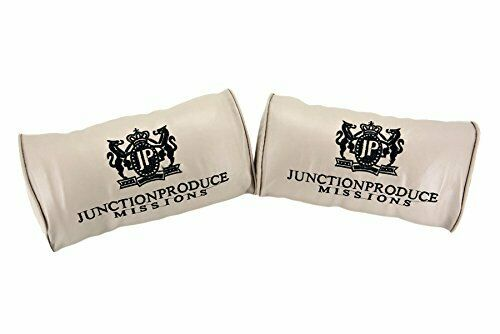 X2 JP Junction Produce Beige Leather Car Seat Neck Pillows Headrest Cushion Pad