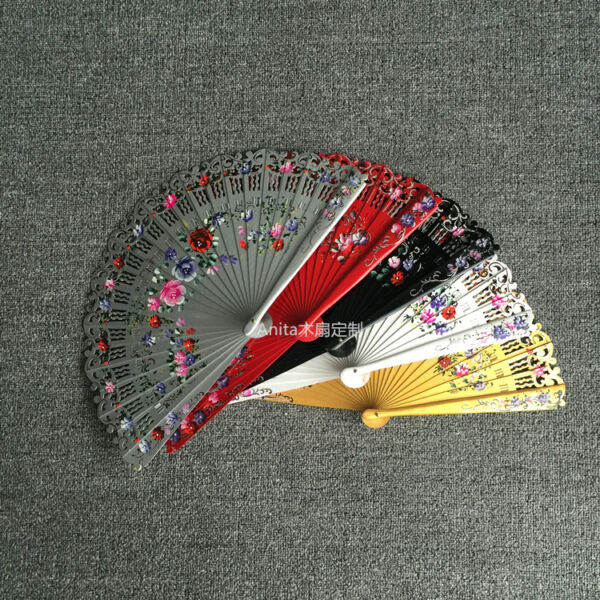 Spanish Style Hand Painted Flower Wood Fans Custom Dance Fans Wedding Cosplay $18.04
