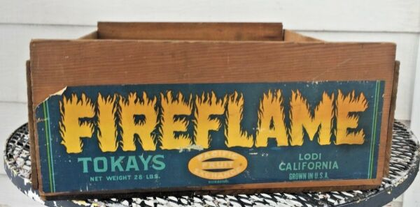 PACIFIC FRUIT EXCHANGE FIREFLAME TOKAYS LODI CALIFORNIA WOODEN PRODUCE BOX CRATE