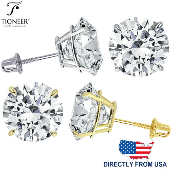 14K Solid Gold Round Solitaire Cut Cubic Zirconia Screw Back Stud Earrings