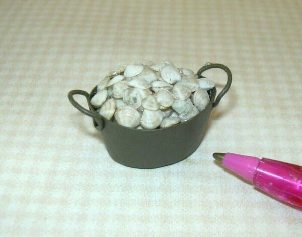 Miniature Brown Oval Metal Pail of Clams: DOLLHOUSE Nautical 1:12 Scale