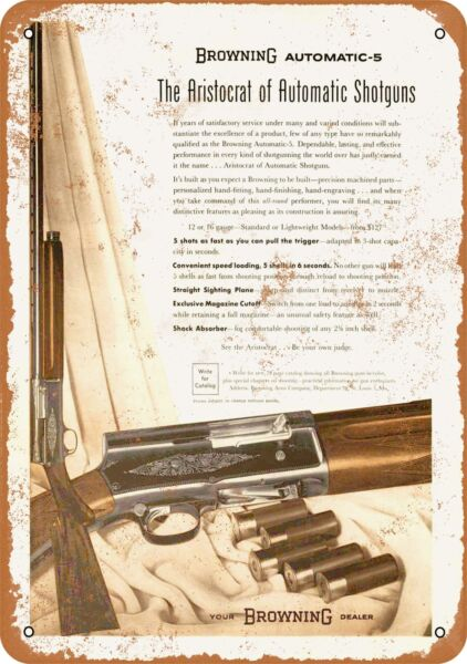 Metal Sign - 1957 Browning Automatic Shotguns - Vintage Look Reproduction