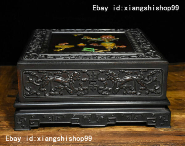 """10"""" Old Chinese Rosewood Wood Inlay Jade Gem Carved Dragon Auspicious design Box"""