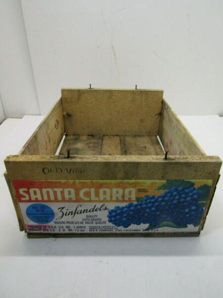A OLD WOOD-WOODEN SANTA CARA ZINFANDEL GRAPE PRODUCE SOLID CRATE BOX STORAGE