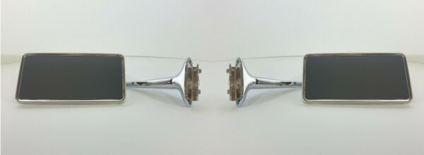 Pair Stainless Peep Mirrors (Universal Rectangle Long Arm Style For Cars/Trucks)