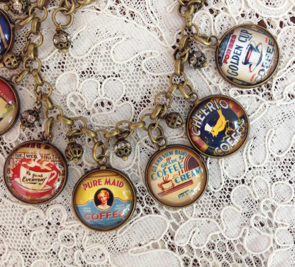 VINTAGE COFFEE  CAN LABELS Glass Dome CHARM Brass BRACELET Advertising Art TINS