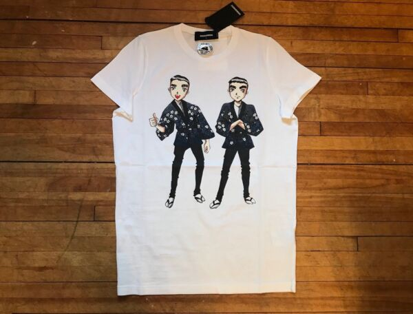 DSQUARED² COOL WHITE ANIME ASIAN TWINS BROTHERS PRINT COTTON T SHIRT S LARGE $106.00