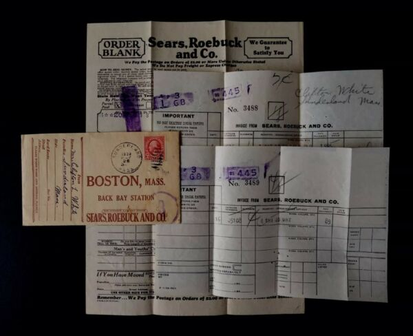 1932 Envelope Order Form amp; Invoice Sears Roebuck amp; Co. Boston Mass Advertising