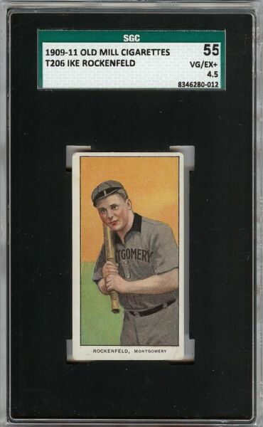 Rare 1909-11 T206 Ike Rockenfeld Old Mill Southern League SGC 55  4.5 VG - EX +